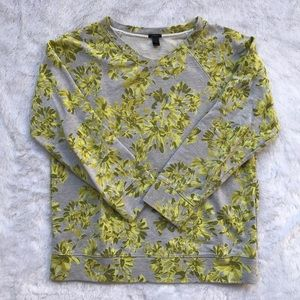 J. Crew Yellow & Gray Floral Sweater